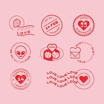 발렌타인 데이 삽화와 활판 인쇄 요소 우표 엠블럼