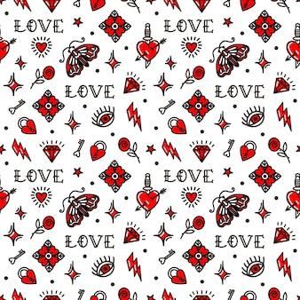 올드 스쿨 스타일 패턴의 발렌타인 데이.