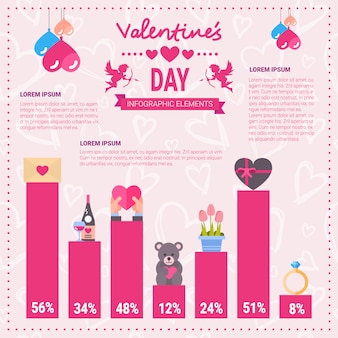 Valentines day infographic banner set of icons over template pink background with copy space