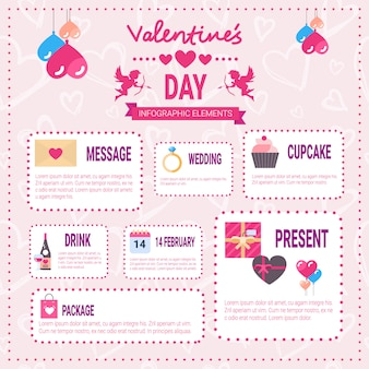 Valentines day infographic elements icons over pink background, love holiday info graphic