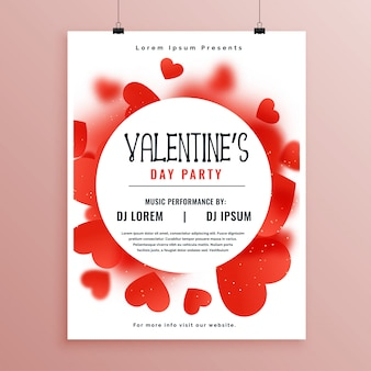 Valentines day invitation flyer template design