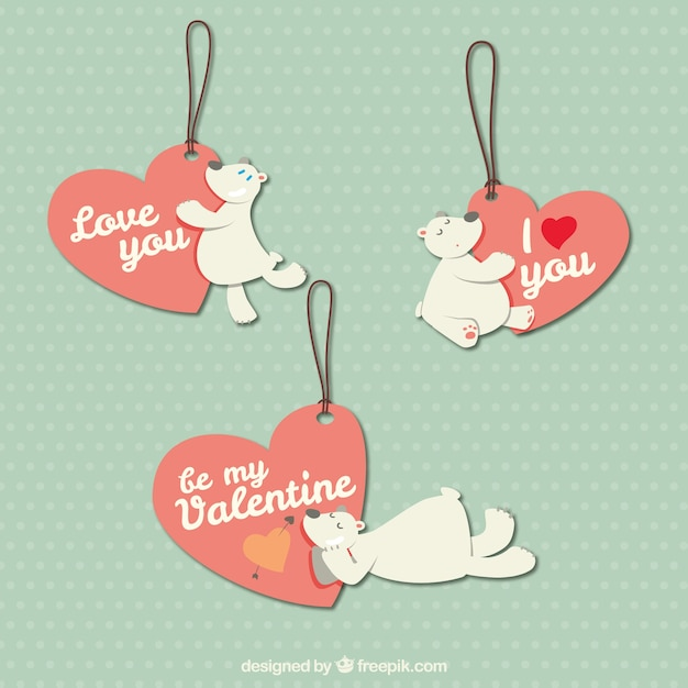 クマとバレンタインの日ラベル