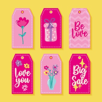Valentines day labels with love theme.