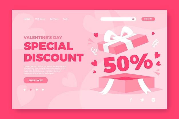Valentines day landing page sale