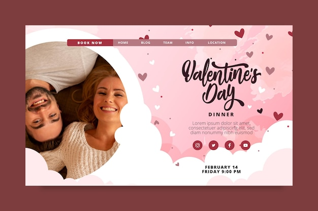 Valentines day landing page template