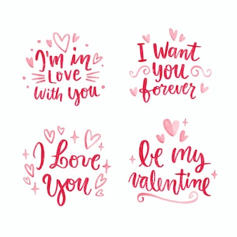 Valentines day lettering collection