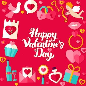 День святого валентина надписи плакат. векторная иллюстрация концепции праздника любви современной каллиграфии.