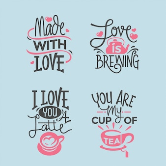 Valentines day lettering quotes collection