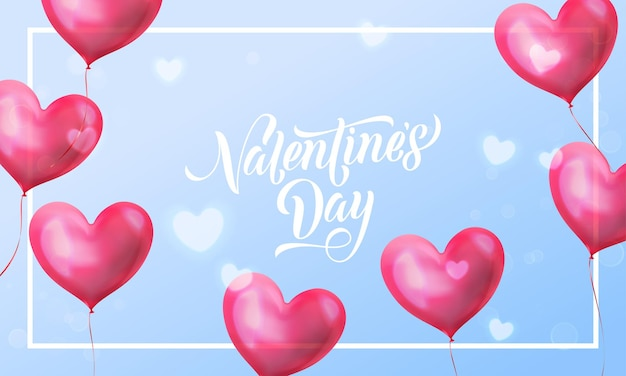 Valentines day lettering text on valentine red heart on blue light pattern background.
