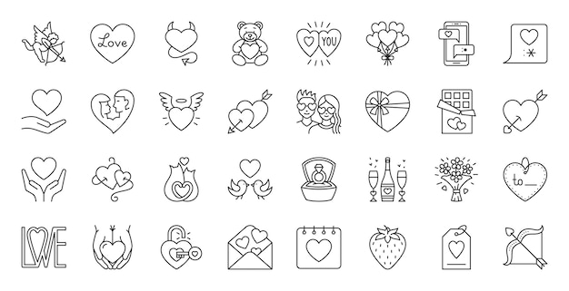 Valentines day line icon set