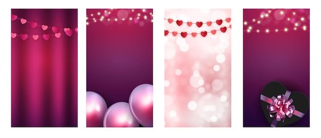 ストーリーポストセットのバレンタインデーの愛の背景。