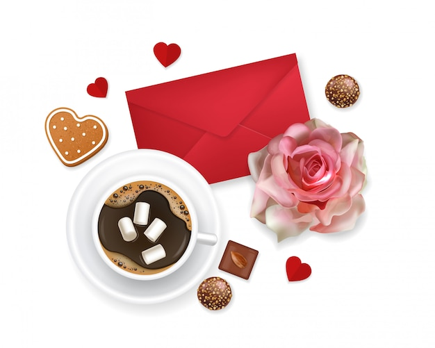 Valentines day, love card, romantic , coffee, rose, chocolate, envelope and biscuit, love concept