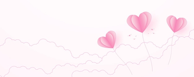 Valentines day love concept background paper pink heart shaped balloons floating in the sky