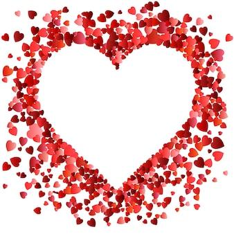 バレンタインデーの愛。多くの空飛ぶバレンタインの心を持つ装飾的なハートの背景。
