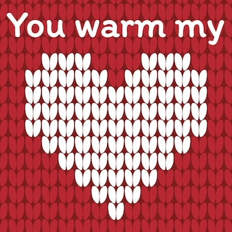 Valentines day love heart knitted card.