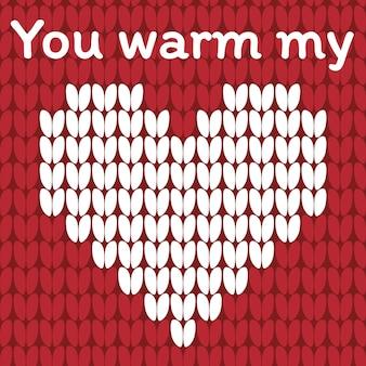 バレンタインデーの愛心ニットカード。