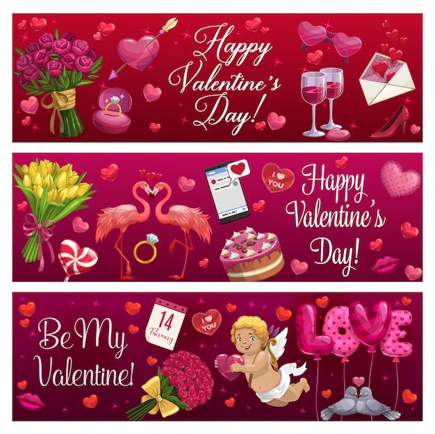 Valentines day love holiday hearts, gifts and ring Premium Vector