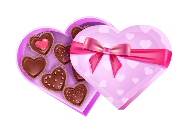バレンタインデーの愛の休日は、チョコレート菓子、リボン、弓でハート型のピンクのボックスを開きました。ロマンチックなデザートサプライズイラスト。白い背景で隔離の休日プレゼントチョコレート菓子