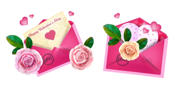 Valentines day  love letter envelopes with heart-shaped postcards, roses, green leaves.