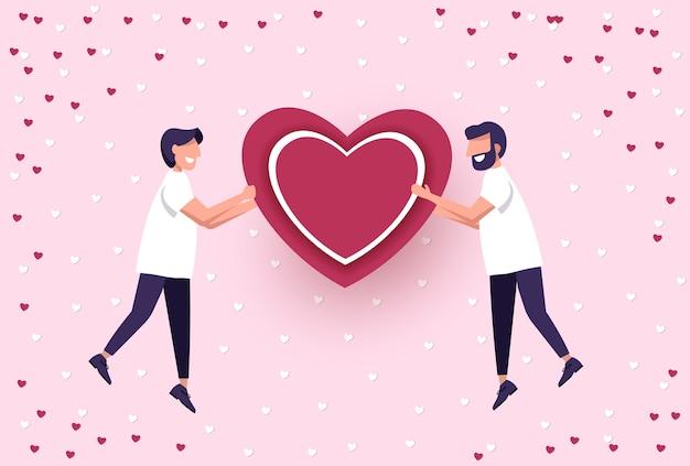 2人の男性のバレンタインデーの愛lgbtゲイ