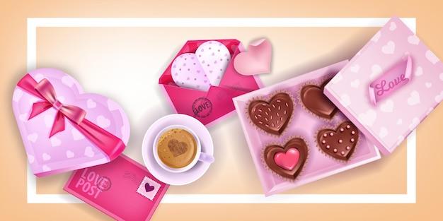 バレンタインデーはピンクのカード、封筒の背景、ハート型のチョコレート菓子箱、コーヒーカップが大好きです。文字と休日のロマンチックな幸せなデートのレイアウト。バレンタインデーの朝食の背景