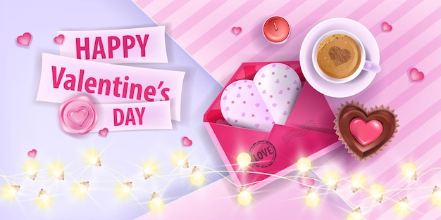 Valentines day love romantic greeting card with pink opened envelope, coffee cup, cupcake. vector holiday sale, offer or gift banner with garland lights, hearts. date breakfast valentines day card