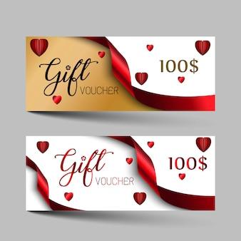 Valentines day luxury gift vouchers set