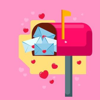 バレンタインデーのメールボックスハートに囲まれた結婚式の招待状バレンタインデー