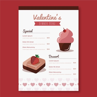 Valentines day menu template concept