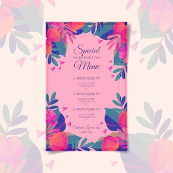 Valentines day menu template design
