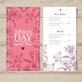 Valentines day menu template draw