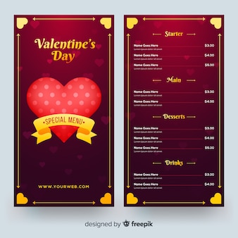 Valentines day menu template in realistic style