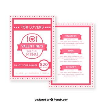 Modello di menu di giorno di san valentino per gli amanti