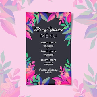 Valentines day menu template on watercolor
