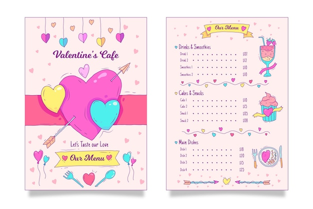 Valentines day menu template with hearts