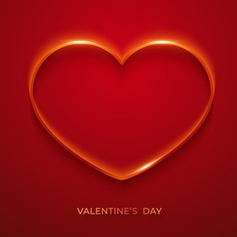 Valentines day minimalist greeting card. background with shining heart. valentines day card illustration on red background