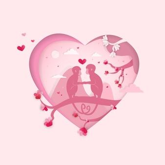 Valentines day, monkeys in heart background illustration