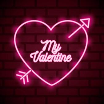 矢印と私のバレンタインのテキストと交差するハートのバレンタインデーのネオンサイン。