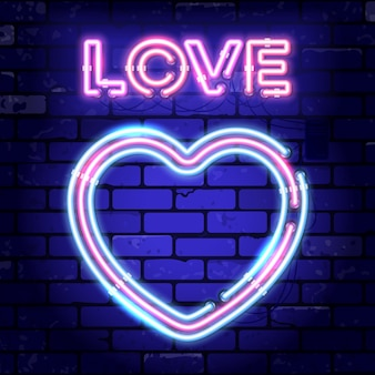 Valentines day neon signboard with heart and love on brick wall