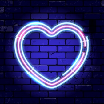 Valentines day neon signboard with heart.