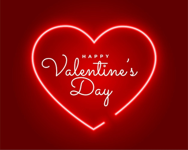 Valentines day neon style greeting design