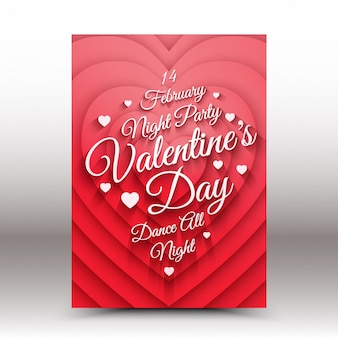 Valentines day night party poster template