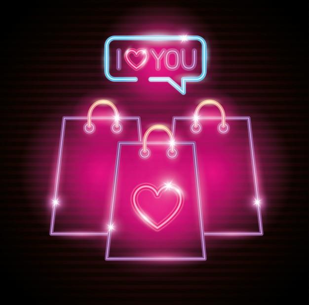 네온 불빛의 가방 쇼핑의 발렌타인 데이