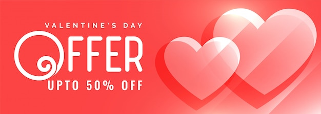 Valentines day offer and sale red banner