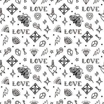 Valentines day in old school style pattern.