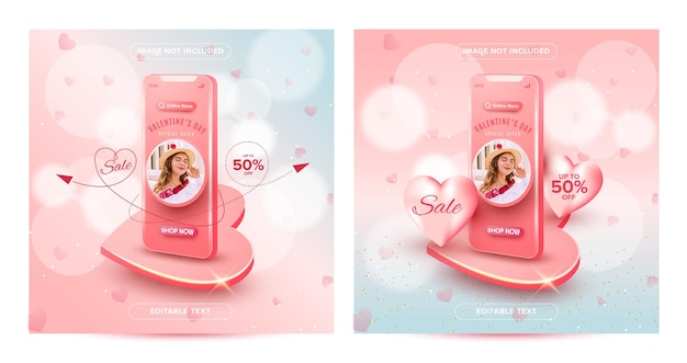 Valentines day online shopping promotion concept on social media post