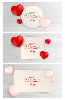 Valentines day paper background with icon set