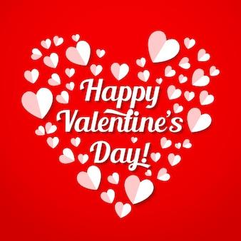 バレンタインデーの紙のハートとレタリング