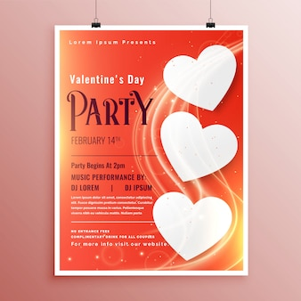 Valentines day party event flyer with light glowing wave