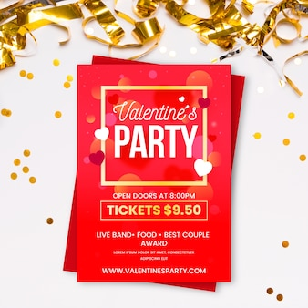Valentines day party flat flyer template